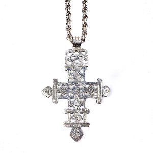 Jewelry - Silver Tone Cross Necklace Large Hammered Metal